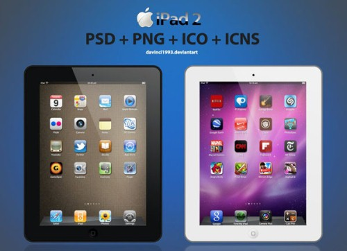 Apple iPad 2: PSD + PNG + ICO